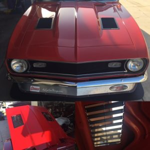 top and bottom of trackspec Camaro hood louvers 1968 camaro