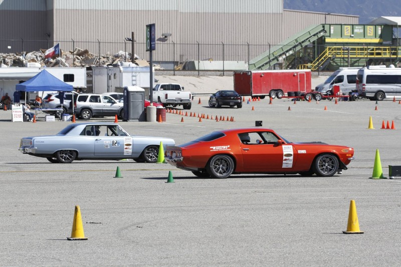 Kevin Reidy 1965 Chevelle Nick Relampagos 1970 Camaro SCCA ProSolo Fontana CAM Autocross 2017 rolling up to staging lights
