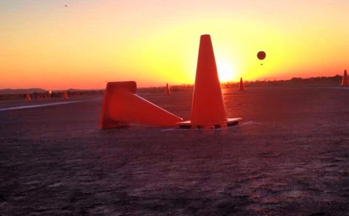 Autocross cone sunrise