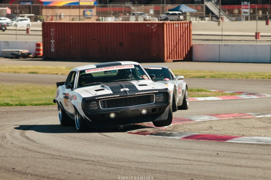 Jake Rozelle 1969 Camaro tripod off the berm Auto Club Speedway Optima USCA