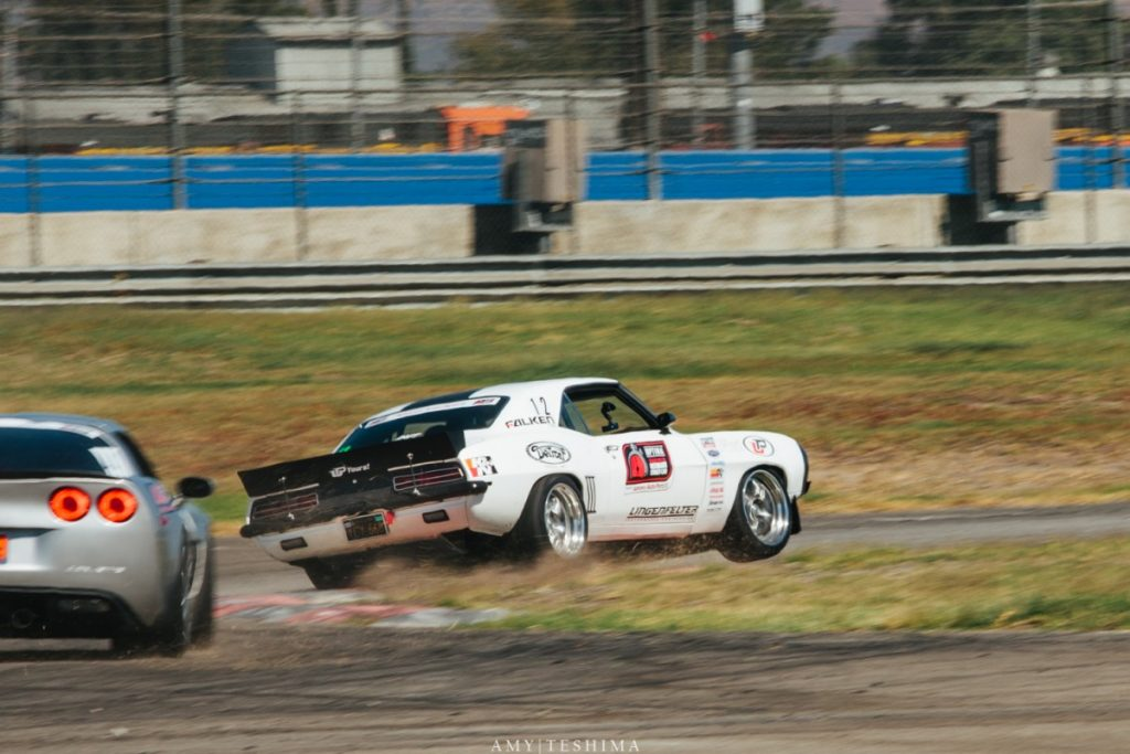 Jake Rozelle 1969 Camaro wheels up Auto Club Speedway Optima USCA