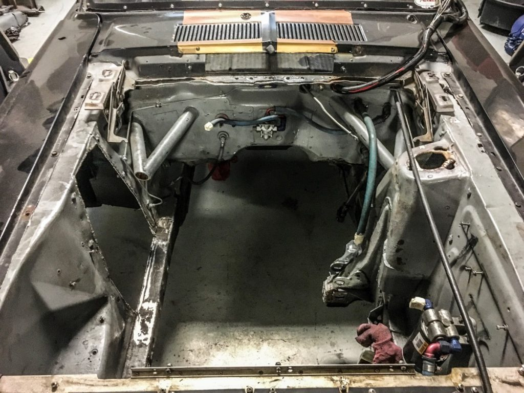 1967 Mustang one shock tower removed